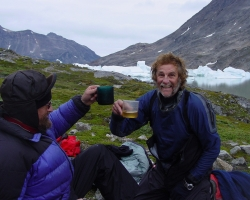 Conrad and Paul celebrating safe arrival to Lake Fjord in East Greenland - 2007