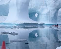 Paul dwarfed by stranded icebergs - East Greenland 2008